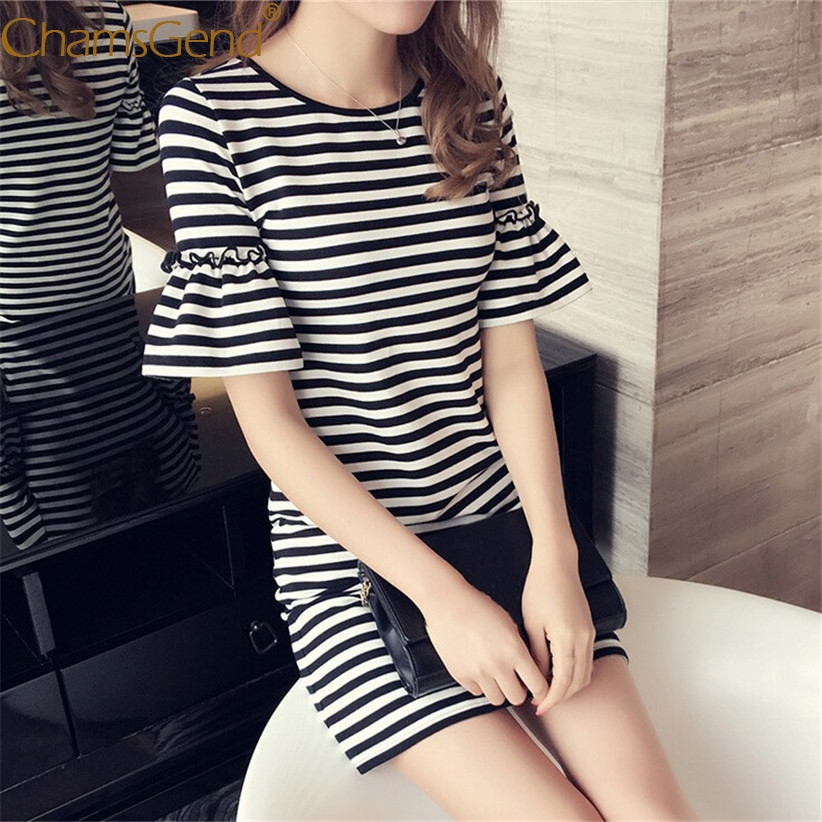 HOT SALE Women Girls Casual Striped Short Flare Sleeve Dress 80514 Free Shipping