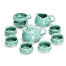 creative porcelain tea set handmade relief longquan celadon kungfu sets ceramic pot cup for Puer Chinese kongfu teaset