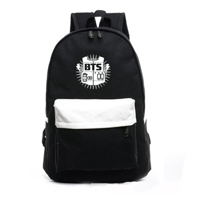 Men Printing Bts Backpack Wome Patchwork School Bags For Teenagers Canvas Rucksack Koreanbts Backpacks For Teenage Girl Mochila