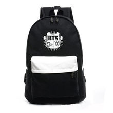 Men Printing BTS Backpack wome patchwork School Bags For Teenagers canvas rucksack KoreanBTS Backpacks For Teenage Girl Mochila(China)