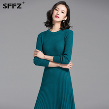 SFFZ Autumn Winter Woman Sweater Dress 2018 Knitted O-Neck Green Ruffles Hem Warm Free Size Female Sweater Dresses Clothes