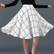 Autumn New Women Skirt  All-Match Fashion Plaid Skirt High Waist Clothes Female Temperament Umbrella Skirt C1215