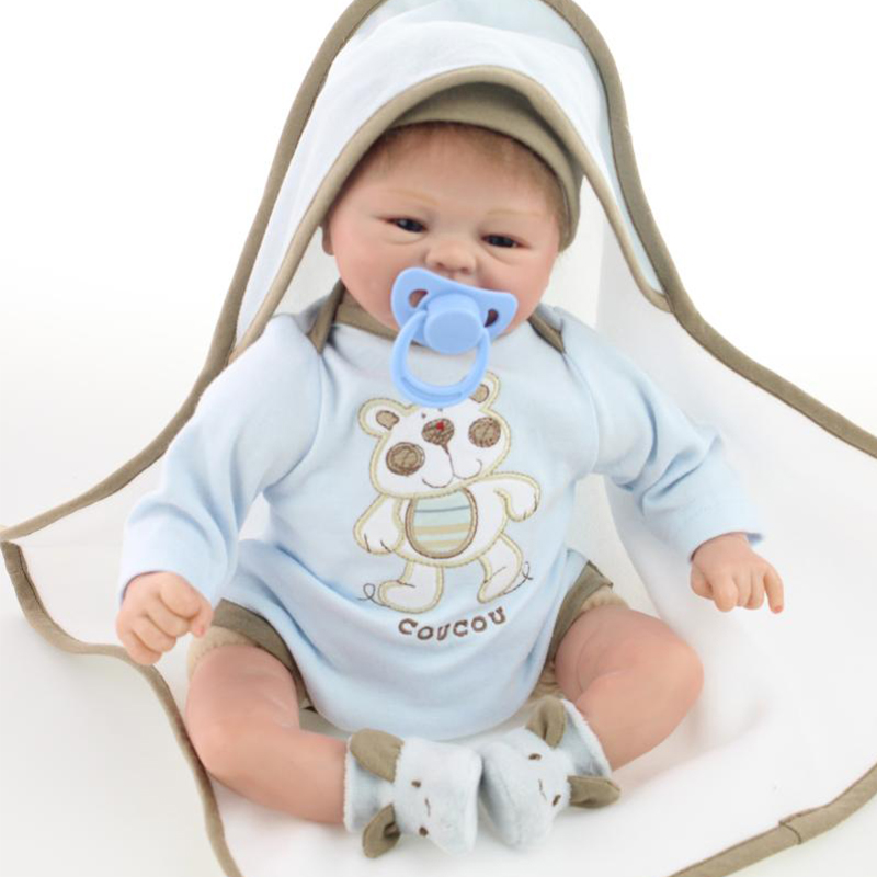 Nicery 16 inch  40 cm Reborn Baby Doll Soft  Silicone Lifelike Toy Gift for Children Smile Baby Lovely Blue Jumpsuit Blue HatNicery 16 inch  40 cm Reborn Baby Doll Soft  Silicone Lifelike Toy Gift for Children Smile Baby Lovely Blue Jumpsuit Blue Hat
