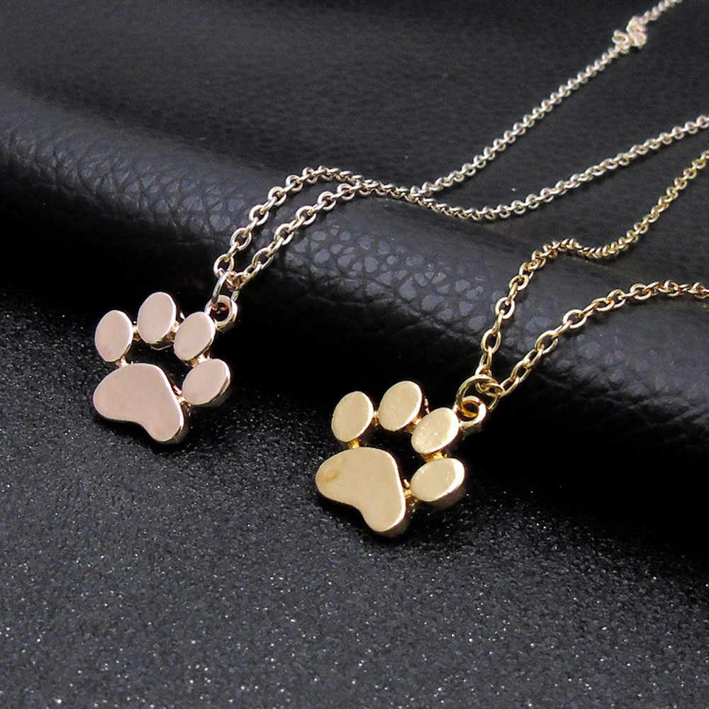 Paw Necklace Silver Gold Dog Cat Necklace For Women Jewelry Accessories Animal Paw Pet Choker Pendant Footprints Girls Gift f1