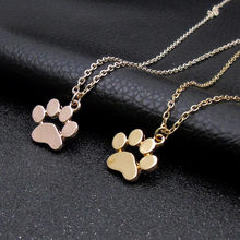 Paw Necklace Silver Gold Dog Cat Necklace For Women Jewelry Accessories Animal Paw Pet Choker Pendant Footprints Girls Gift f1(China)