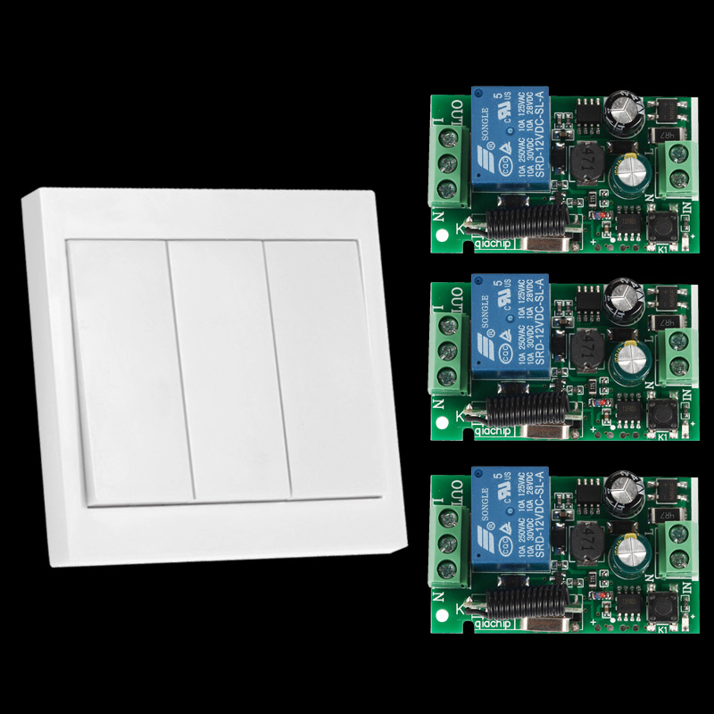 433Mhz Universal Wireless Remote Control Switch AC 110V 220V 1CH Relay Receiver and 433 Mhz Wall Panel Remote RF Transmitter ac 220v 1ch rf wireless remote switch wireless light lamp led switch 1 mini receiver 4 transmitters on off 315mhz or 433mhz