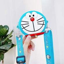 Universal Pouch bag Cute Doraemon Cookie wallet bag for airpods Coin Lipstick Shoulder bag holster Gift child + shoulder straps(China)