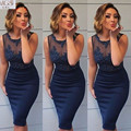 MGS Navy Blue 2016 Scoop Appliqued Lace Beaded Sheer Neck See Through Cocktail Dresses Knee-Length Vestido De Festa Party Gown
