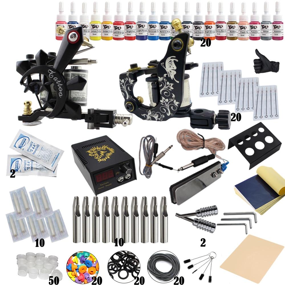 Biomaser Hot Sale Complete Professional Tattoo Kit For Tattoo Body Art Machine Guns Inks Needles Tattoo Power Supply hot 991t 02 multifunction kit professional tattoo