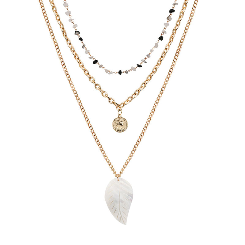 Bohemia Coin Leaf Pendant Necklaces Beach Layered Stone Bead Necklace for Women Girls Statement Choker Collar Party Jewelry H34 in Pendant Necklaces from Jewelry Accessories