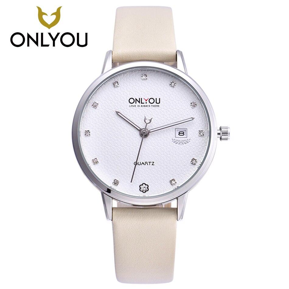 ONLYOU mode montre femmes strass dames nouvelle montre bracelet diamant véritable bracelet en cuir robe horloge populaire marque fille-in Montres femme from Montres    1