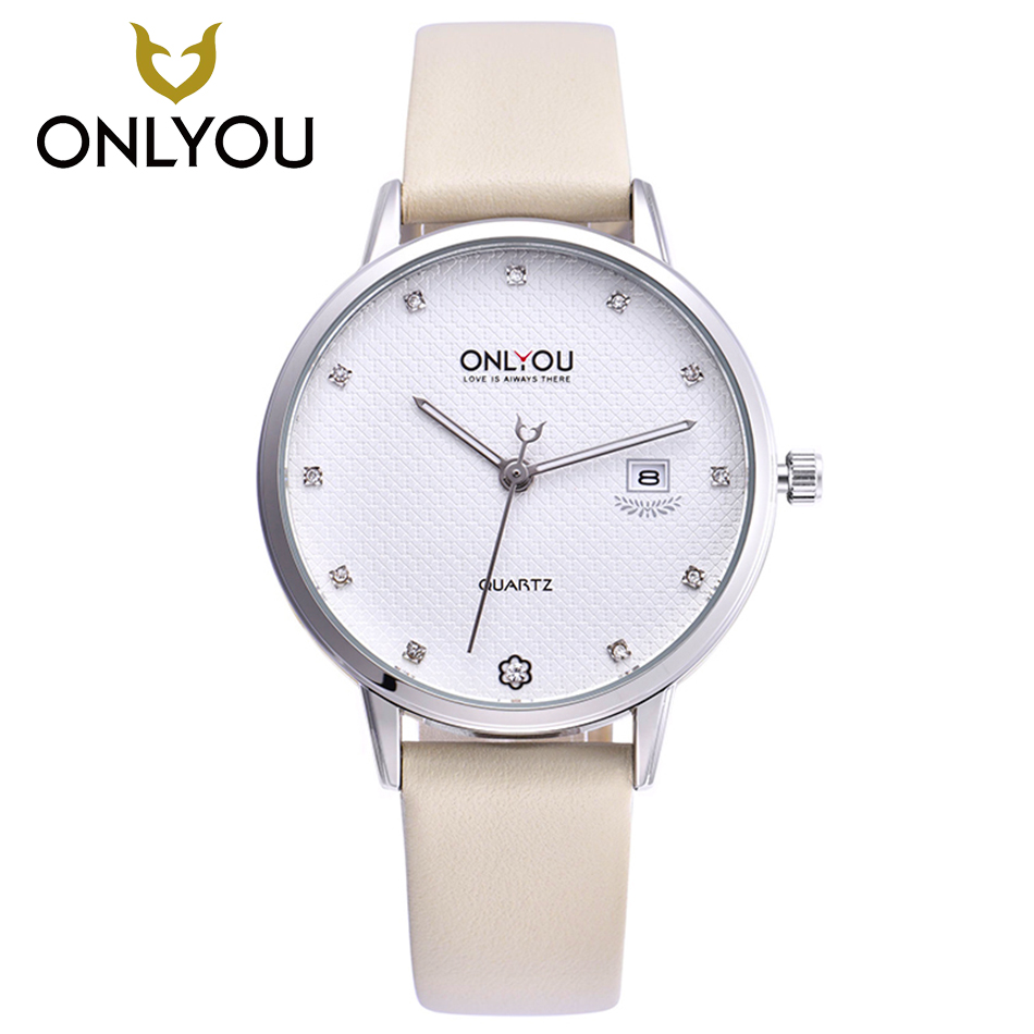 Onlyouファッション腕時計女性のラインストーンレディース新しい腕時計ダイヤモンド本革ストラップドレス時計人気ブランド女の子  グループ上の 腕時計 からの レディース腕時計 の中 1