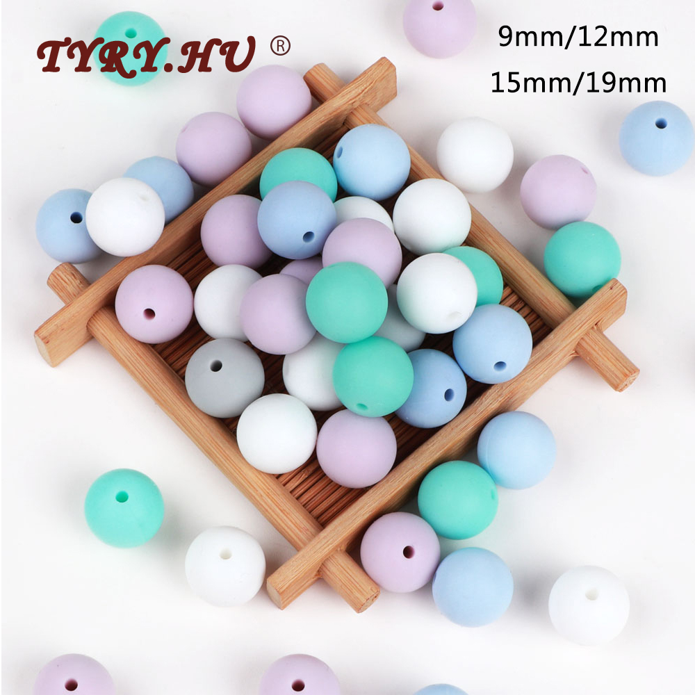 TYRY.HU 500pc Round Silicone Beads 9mm 12mm 15mm 19mm Baby Teething Necklace DIY Baby Pendant Necklace Food Grade Baby Teether