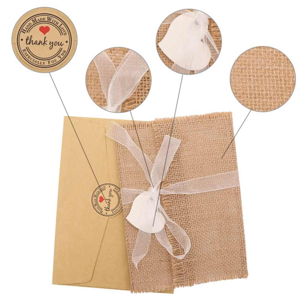 OurWarm 50Pcs Wedding Invitations Paper Blank Card Heart Lace Burlap Envelope Party Favors Gifts For Guest Wedding Decoration