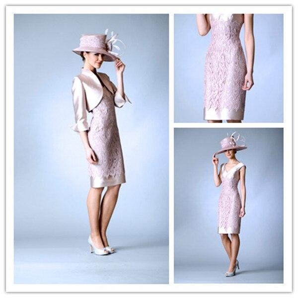 a791c70f90 Elegante Rosa De Plata 2016 de La Rodilla Longitud Madre De Los Vestidos de Novia  Por Encargo Más Tamaño Vestido de Noche Vestido de Invierno ...