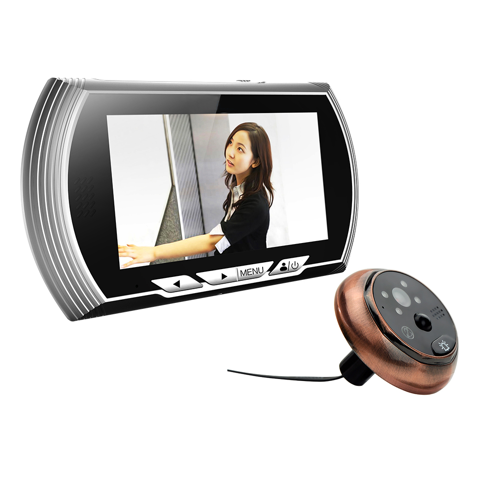 4.3 TFT Silver Color Digital Peephole Viewer Camera with IR Night Vision Support No Disturb & Motion Detect & PIR & Door Bell