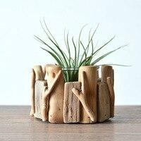 Handmade Wooden Tabletop Vase Creative Succulents Pot Flowers Planter Eco Natural Wood Home Office Shop Decor
