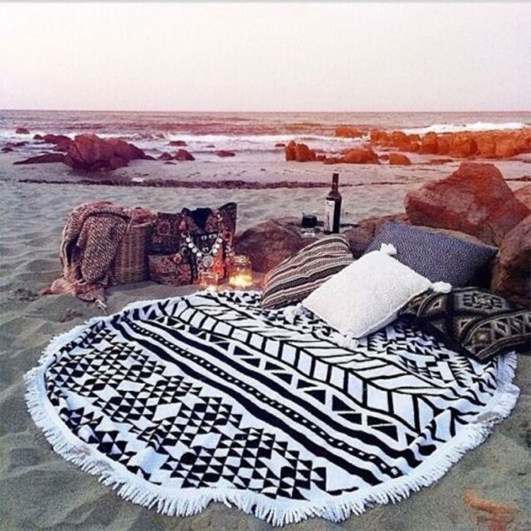 summer large microfiber printed round beach towels with tassel ound mandala tapestry serviette. Black Bedroom Furniture Sets. Home Design Ideas