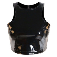 New Matt PU Black Leather Cut Cross Women S Bustier Bra Zipper Night Club Party Cropped