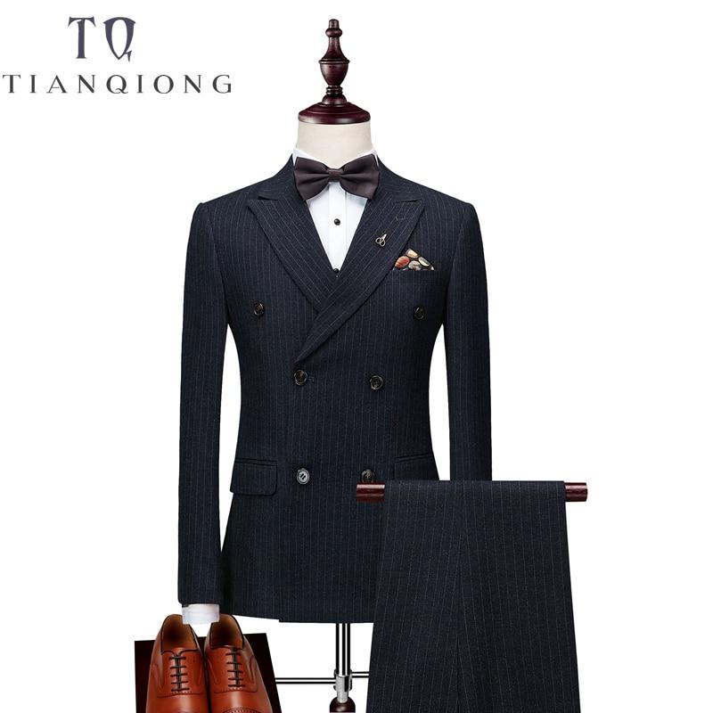 Chaquetas + Pantalones + chalecos para hombre traje de doble botonadura 2018 ajustado traje de rayas verticales hombres lujo vestido de boda Blazer trajes de hombre-in Trajes from Ropa de hombre    1