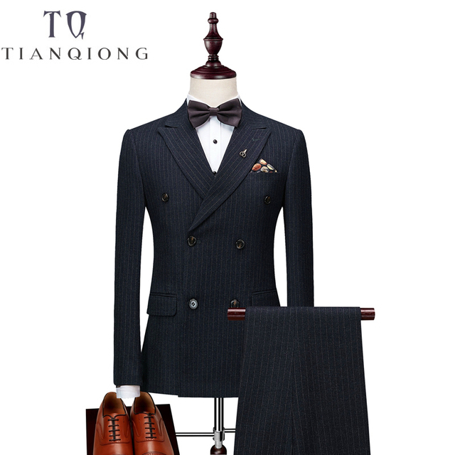 Jackets+Pants+Vests Mens Double Breasted Suit 2018 Slim Fit Vertical Striped Suit Men Luxury Wedding Dress Blazer Suits Male