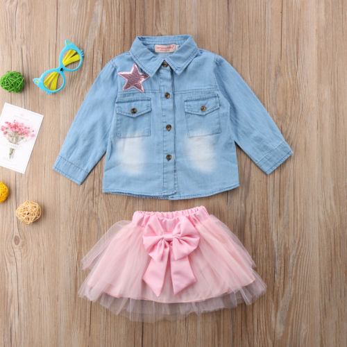 Toddler Kid Baby Girls Casual Jeans Denim Tops T shirt Shirt And Lace Bow knot Skirt Dress Outfits