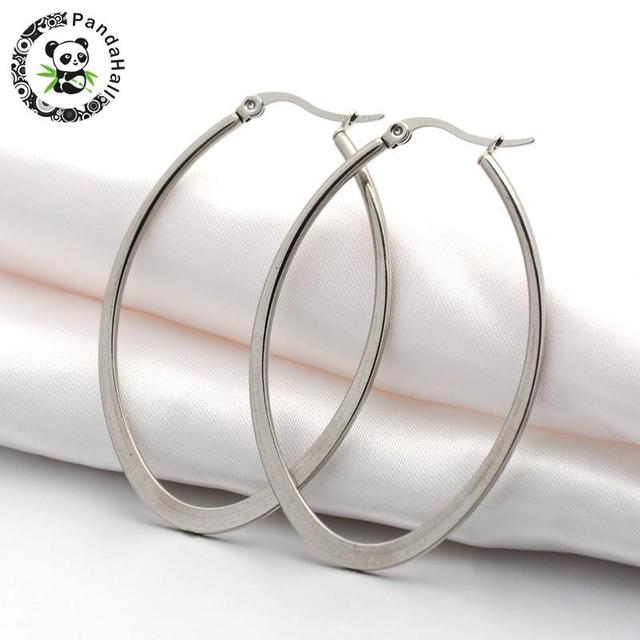 304 Stainless Steel Hoop Earring Oval Color 54x2x35mm Pin