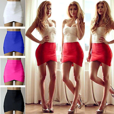 8e3611c3a57 2016 fashion new style Vintage Women Stretch High Waist Short Plain Skater  Flared Pleated Mini Skirt