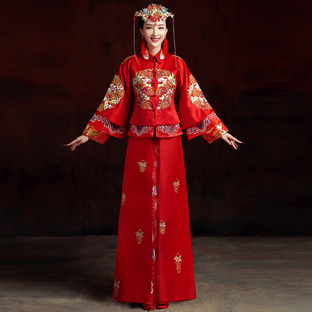 2016 Traditional China Wedding Dress Red Oriental Style Dresses ...