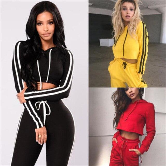 c8c812c2fe68 Duas Peças Set Mulheres Hoodies Treino Calças Moletom Cintura Alta Desgaste Treino  2018 de Moda Feminina