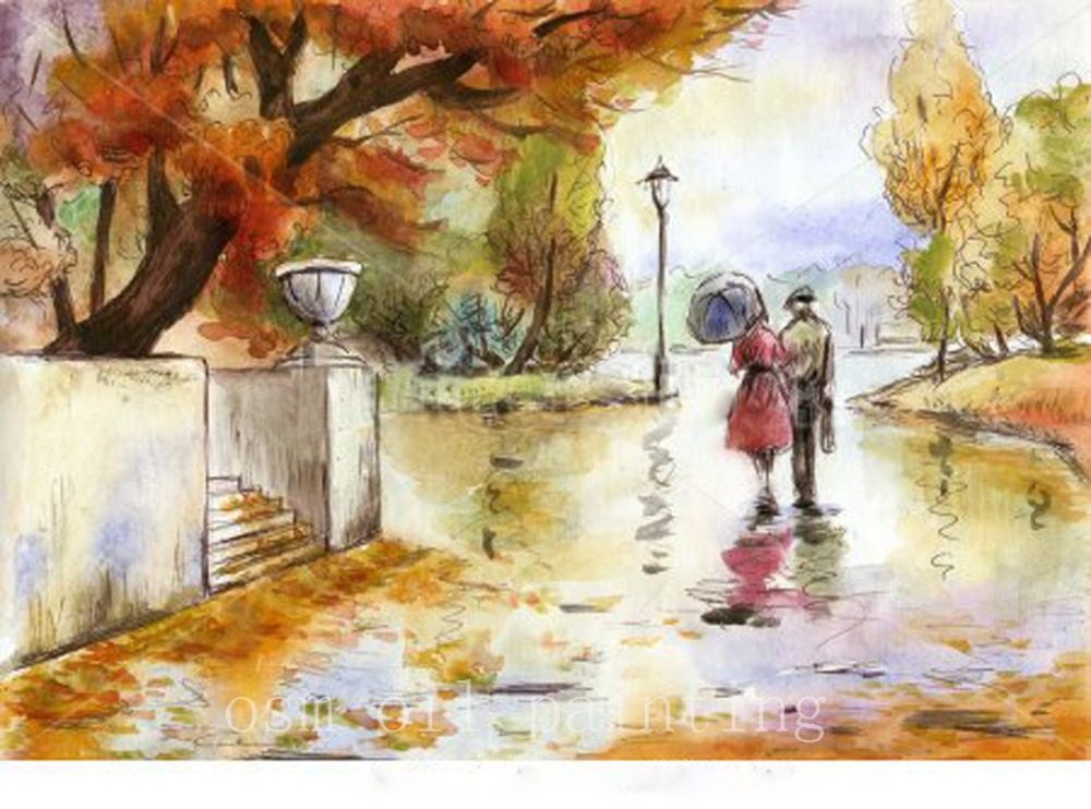 Us 54 06 50 Off Watercolor Hand Drawn Painting Landscape With A Couple In The Autumn Park Handmade Wall Art Oil Painting On Canvas Home Decor In