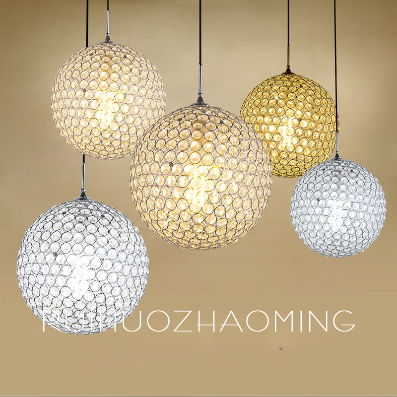 modern crystal ball pendant light restaurant  bar single bar coffee shop Nordic staircase hanging lighting egypt imported crystal 8 light pendant lights in ball shape chrome pl1040