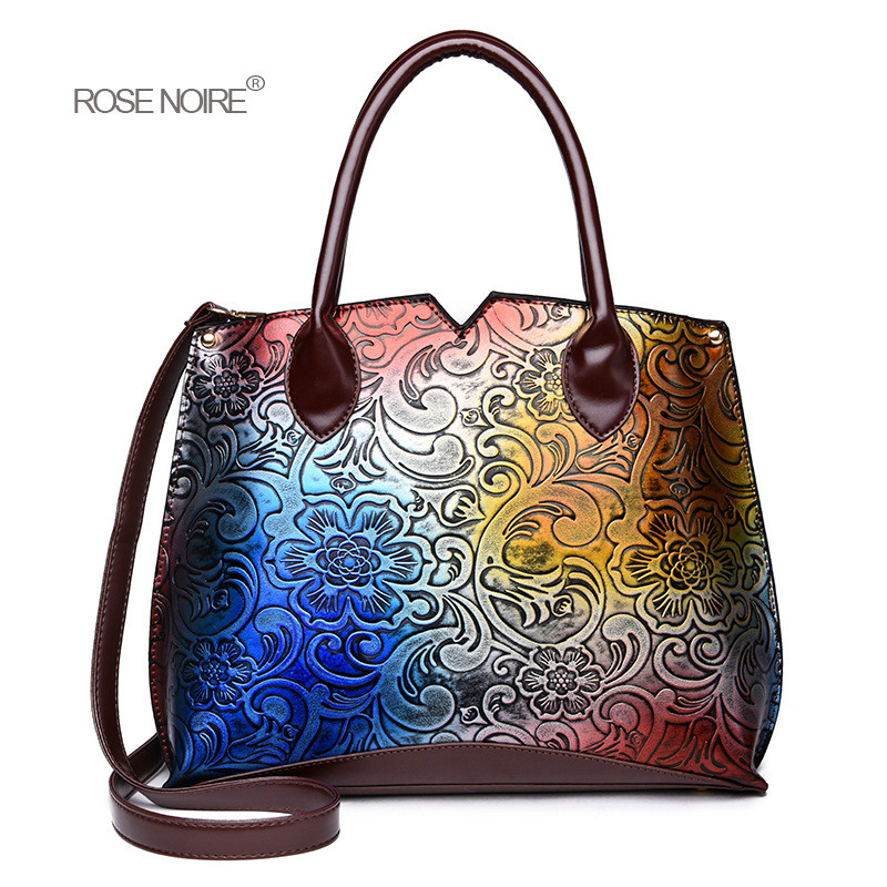 Women Bag Floral Printing Chinese Style Women High Quality PU Leather Handbags Fashion Colourful Shoulder Bags sac Cultch gg bag pu leather front zip floral shoulder bag