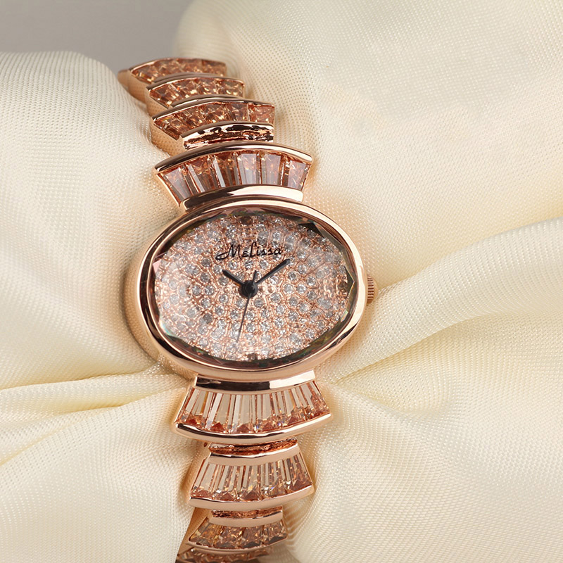 Melissa Luxury Crystal Lady Women's Watch Japan Quartz Top Fashion Dress Steel Bracelet Rhinestone Clock Girl Birthday Gift Box fashion modern silver crystal flower quartz pocket watch necklace pendant women lady girl birthday gift relogio de bolso antigo