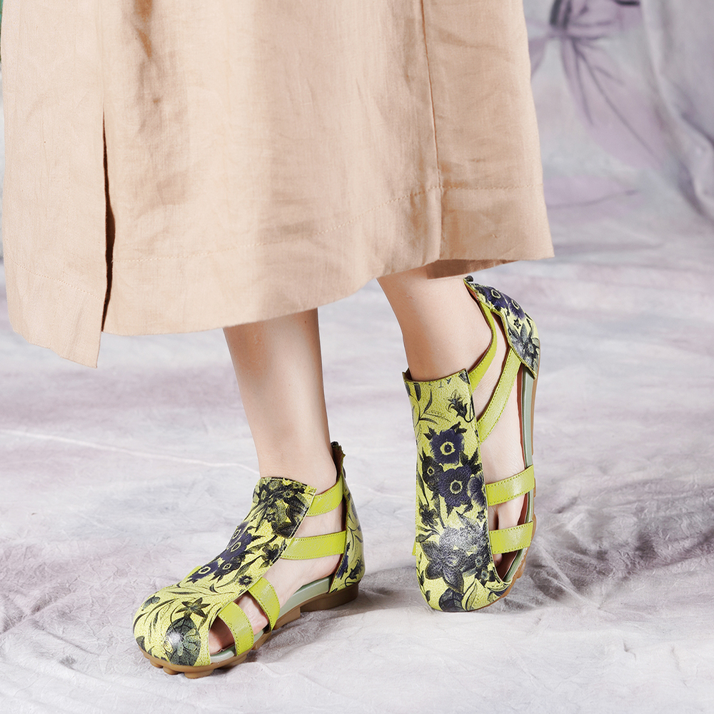 2019 VALLU femmes sandales plates pour l'été en cuir véritable à la main fleurs cheville sangle couverture orteils dame chaussures sandales
