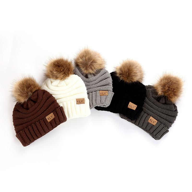 Adult Women Thicken Cap Fur Pom Pom Beanies Crochet Knitted Warm Winter Men Womens Hat With Hair Ball