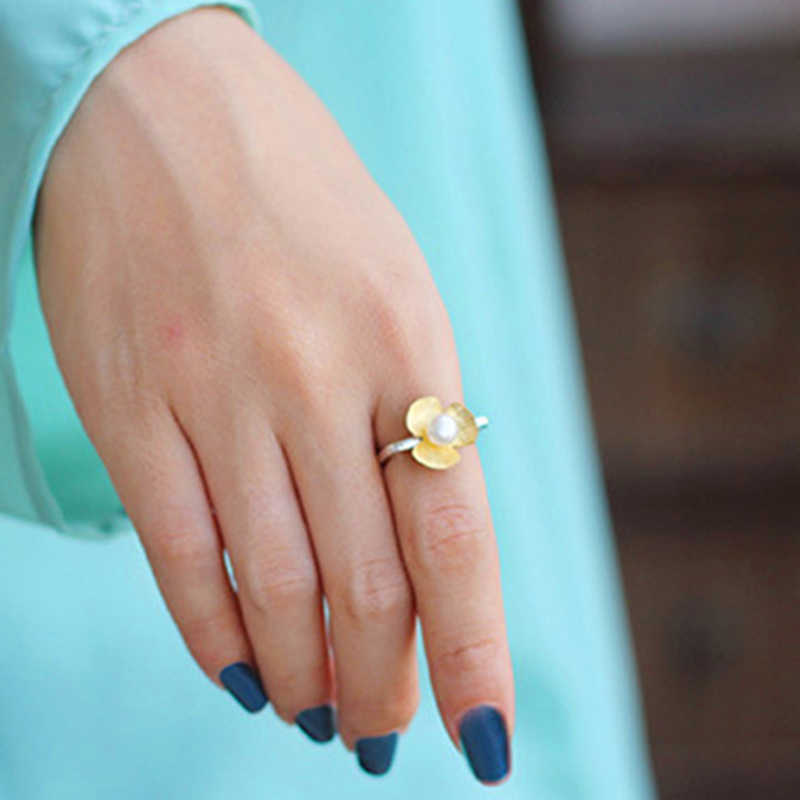 Lotus Vui Giây Phút Thật Nữ Bạc 925 Ngọc Trai Tự Nhiên Thời Trang Trang Sức Vuông Vòng Tươi Cỏ Ba Lá Hoa Cho Nữ, Nhẫn Nữ BIJOUX
