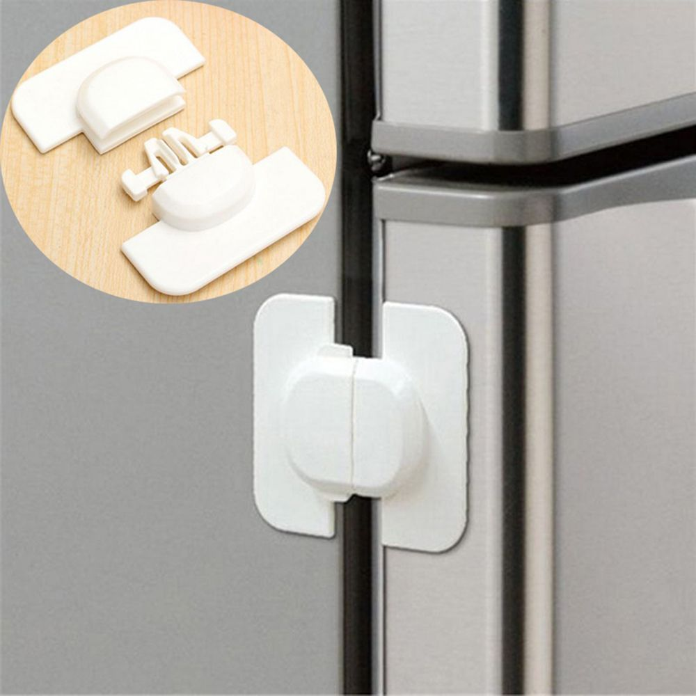 1PC White Plastic Baby Child Refrigerator Lock Infant Toddler Cupboard Fridge Cabinet Drawer Safety Lock