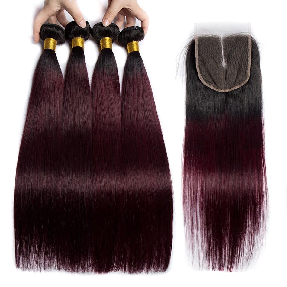 ALIBELE 1B 99j Red Wine Brazilian Straight Hair Bundles With Closure Ombre Remy Human Brazilian Hair
