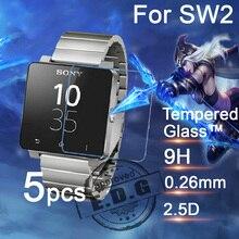 5 stücke 0,26mm 9 H Explosionsgeschützte Anti scratch LCD Gehärtetem Glas Film Für Sony SmartWatch 2 SW2 Uhr Displayschutzfolie
