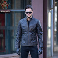 2017 New Men M65 Vintage Black Leather Jacket Long Stand Collar Genuine Thick Cowhide Slim Fit Men Russian Coat FREE SHIPPING