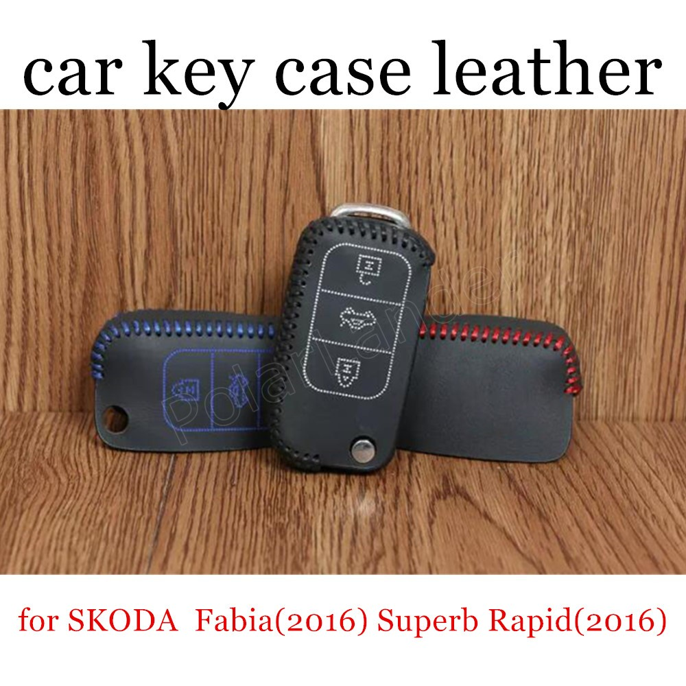 Only Red for SKODA Fabia(2016) Superb Rapid(2016) Spaceback(2016) yeti(2016) Superb Derivative(2014) Car key case hand sewing