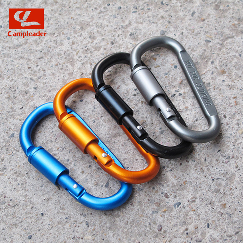 10pcs Outdoor Camping Climbing Carabiner D-shaped With Nut Hanging Buckle Buckle Aluminum Alloy Nut Buckle Fast Hanging