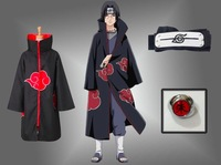 Cloak Akatsuki Anime Cosplay Costume with band ring Uchiha Itachi Unisex ninja party clothing NARUTO