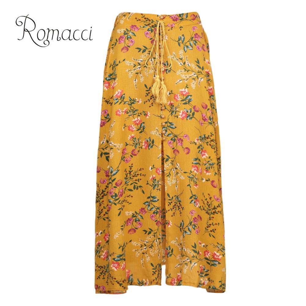 3eebed269910 Romacci Sexy 5XL Plus Size Skirt Women High Waist Boho Print Long Skirt  Split Floral Print