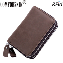 COMFORSKIN New Arrivals RFID Unisex Double Zippered Credit Card Holder Hot Brand Vintage Style Multi-function Wallets 2018
