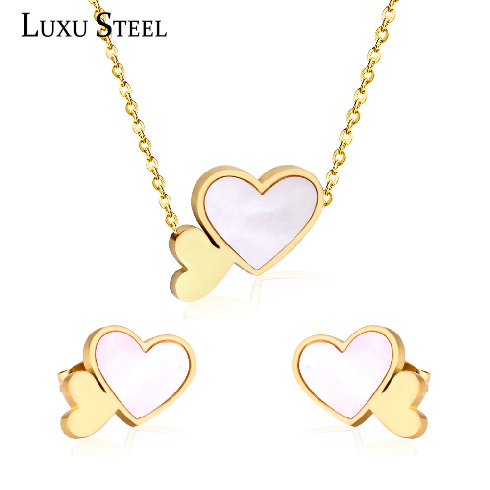 LUXUSTEEL Heart Shape White Shell Pendant Necklace Earring Sets Stainless Steel Gold/Silver Color Choker Necklaces Collars Gift