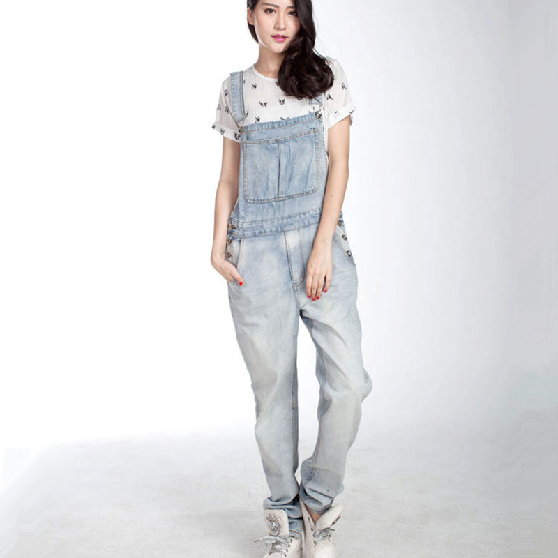 Free Shipping 2016 New Long Trousers For Tall Women Denim Bib Pants Loose Plus Size Spaghetti Strap Hiphop Light Blue Overalls plus size pants the spring new jeans pants suspenders ladies denim trousers elastic braces bib overalls for women dungarees