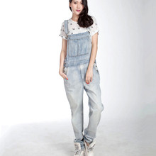 Free Shipping 2016 New Long Trousers For Tall Women Denim Bib Pants Loose Plus Size Spaghetti Strap Hiphop Light Blue Overalls