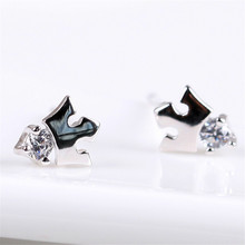 Hanging Jewelry Crown Rhinestone Fashion Stud Earrings For Women Female Body Piercing Silver 925